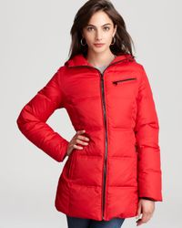 Marc New York | Red Down Coat with Hood | Lyst