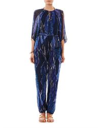 Matthew Williamson Escape | Black Exotic Skin Camo-Print Silk Jumpsuit | Lyst