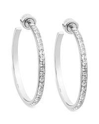 Michael Kors - Metallic Silvertone Swarovski Elements Hoop Earrings - Lyst