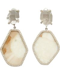 Monique Pean Atelier | Gray Pave Diamond Fossilized Walrus Ivory Hexagonal Drop Earrings | Lyst