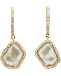 Monique Pean Atelier | Metallic Diamond Slice Gold Hooptop Drop Earrings | Lyst