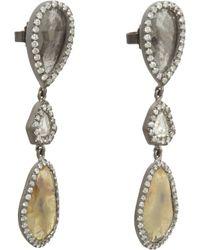 Monique Pean Atelier - Metallic Yellow Grey White Diamond Threetier Drop Earrings - Lyst