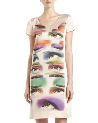 Boutique Moschino | Eye Vneck Shift Dress Pink | Lyst