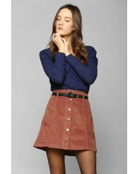 73b4852eb Urban Outfitters Bdg Buttonfront Corduroy A-line Skirt in Brown - Lyst