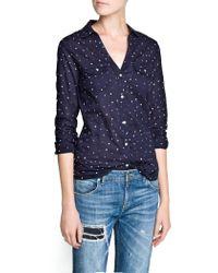 Mango | Blue Printed Cotton Shirt | Lyst