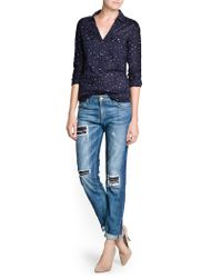 Mango - Blue Printed Cotton Shirt - Lyst