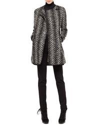 Akris Punto - Tweed Noclosure Coat Blackcream - Lyst