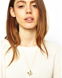 ASOS - Metallic Gold Plated M Necklace - Lyst