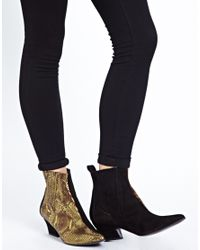 ASOS - Black Won Hundred Mercury Gold Ankle Boots - Lyst