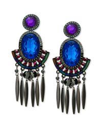 Guess - Purple Hematitetone Blue And Violet Stone Chandelier Earrings - Lyst