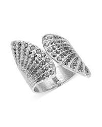 Guess - Metallic Silvertone Black Diamond Crystal Fanned Cuff Bracelet - Lyst