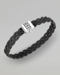 John Hardy - Sterling Silver Classic Chain Heritage Double Braided Bracelet With Black Leather - Lyst