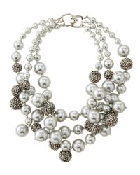 Kenneth Jay Lane - Metallic Pave Crystal Beaded Cluster Necklace Silver - Lyst