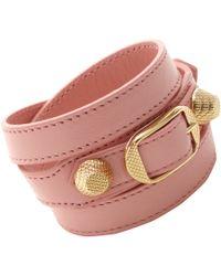 Balenciaga   Pink Arena Giant Gold Double Tour Bracelet   Lyst
