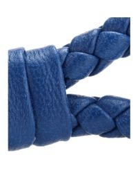 Bottega Veneta - Blue Knot Woven Leather Bracelet - Lyst