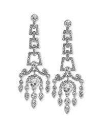 Carolee - Metallic Silvertone Crystal Large Chandelier Earrings - Lyst