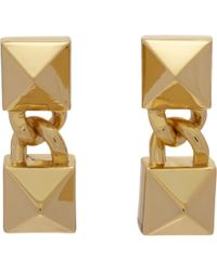 Fallon - Metallic Signature Double Pyramid Drop Earrings - Lyst