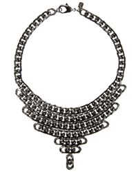 Fallon | Gray Gunmetal Biker Chain Bib Necklace | Lyst