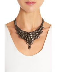Fallon - Gray Gunmetal Biker Chain Bib Necklace - Lyst