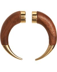 Givenchy | Brown Wood Small Double Shark Tooth Earring | Lyst
