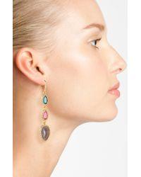 Lauren by Ralph Lauren | Green Pavé Stone Linear Earrings | Lyst