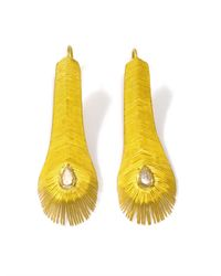 Marie-hélène De Taillac | Diamond Yellow Gold Feather Earrings | Lyst