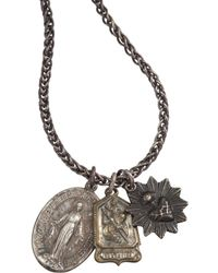 Miracle Icons - Metallic Oxidized Silver Threecharm Necklace for Men - Lyst