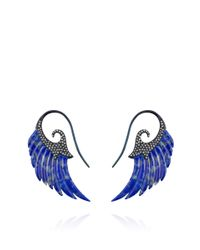 Noor Fares - Exclusived Lapis Lazuli Wing Earrings with 18k Blue Rhodium Gold Set with Diamonds - Lyst