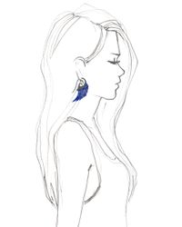Noor Fares | Exclusived Lapis Lazuli Wing Earrings with 18k Blue Rhodium Gold Set with Diamonds | Lyst
