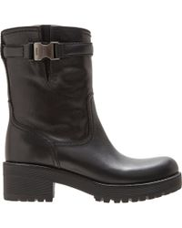 Prada - Black Buckled Strap Ankle Boot - Lyst