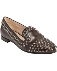 Prada - Black Studded Round Toe Loafer for Men - Lyst