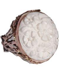 Sandra Dini | Metallic White Agate Ring | Lyst