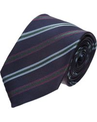 Shipley & Halmos - Blue Diagonal Stripe Tie for Men - Lyst