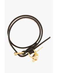 Alexander McQueen - Black Leather Double Wrap Skull Charm Bracelet for Men - Lyst