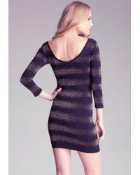 Bebe - Purple Metallic Stripe Dress - Lyst
