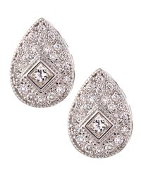 Charriol - Metallic White Gold Teardrop Diamond Earrings - Lyst