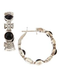 Elizabeth Showers | Maltese Multistone Hoop Earrings Black Onyx | Lyst