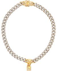 Fallon - Metallic Double Pyramid Curb Chain Choker - Lyst
