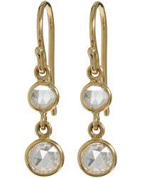 Finn - Metallic Diamond & Gold Double-Drop Earrings - Lyst