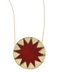 House of Harlow 1960 - Yellow Sunburst Medium Pav Pendant Necklace Cranberry - Lyst