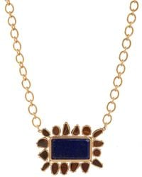 Irene Neuwirth | Blue Boulder Opal Lapis Rectangular Pendant Necklace | Lyst