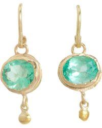 Judy Geib - Green Colombian Emerald & Gold Ball Drop Earrings - Lyst