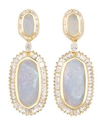 Kendra Scott - Blue Baguette-Trim Oval Druzy Drop Earrings - Lyst