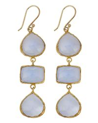 Marcia Moran | Metallic Chalcedony Threedrop Earrings Dark Blue | Lyst