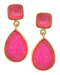 Marcia Moran - Pink Druzy Twodrop Earrings - Lyst