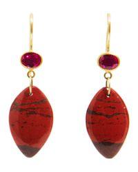 Marie-hélène De Taillac - Metallic Ruby Jasper Apple Eve Earrings - Lyst