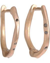 Monique Péan - Metallic Rose Gold Black Diamond Mini Oyster Hoop Earrings - Lyst