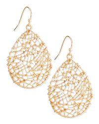 Panacea | Metallic Golden Openwork Drop Earrings | Lyst