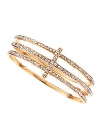 Panacea | Metallic Rhinestone Cross Bangle Set | Lyst