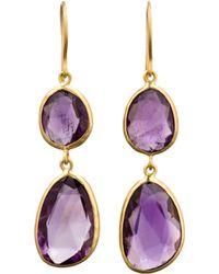 Pippa Small - Purple Amethyst Double Drop Earrings - Lyst